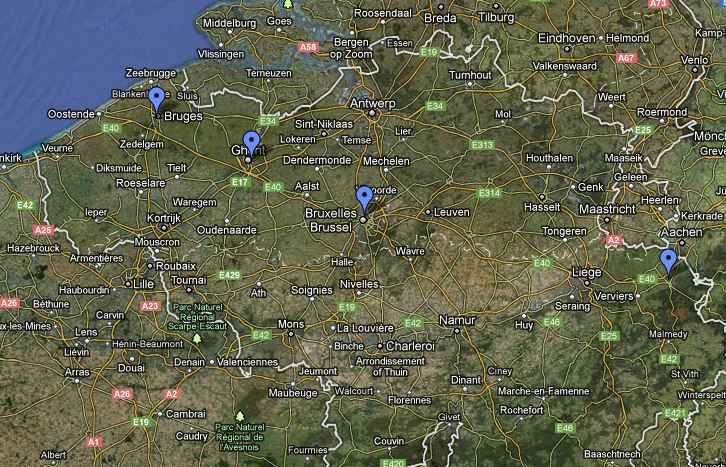 Map of Our Itinerary - Bruges, Ghent, Bussels, and Eupen