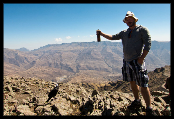 Holding a Dashen Beer over Mount Dashen
