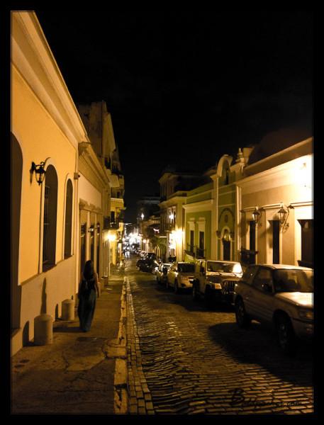 Puerto Rican Street at Night