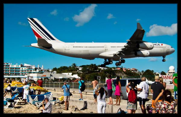 A340 Landing Over Maho Beach