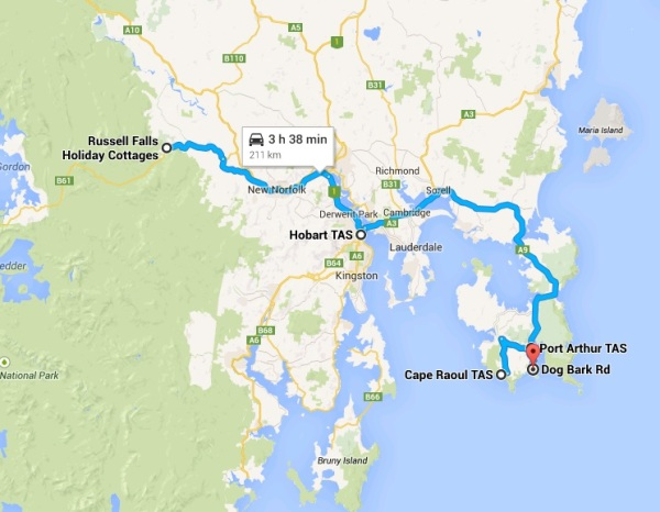 Campervan Road Trip Route to Hobart and Port Arthur