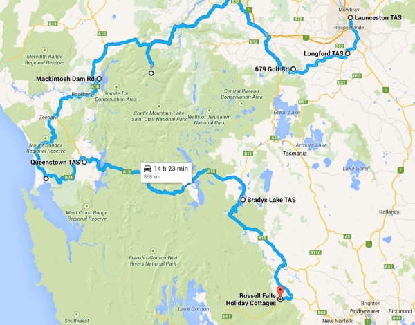 Approximate Driving Route for first Three Days in Tasmani