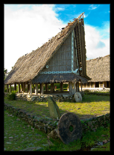 Traditional Hut & Stone Money in Colonia, Yap
