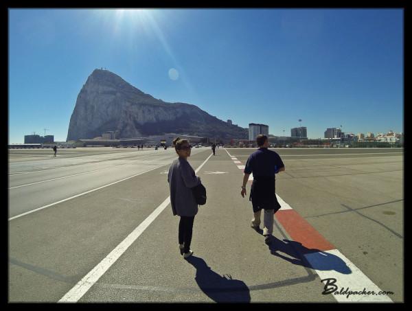 Walking across the Airport Runway into Gibraltar
