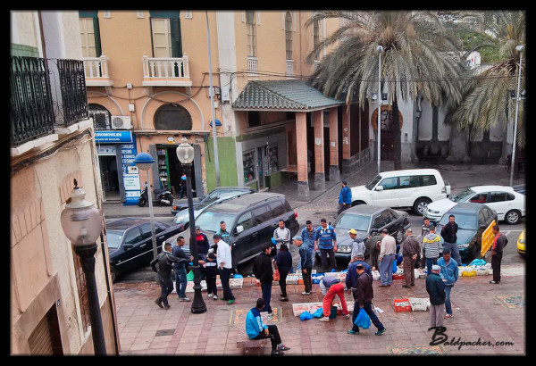 Street Hawkers Selling Fish in Melilla