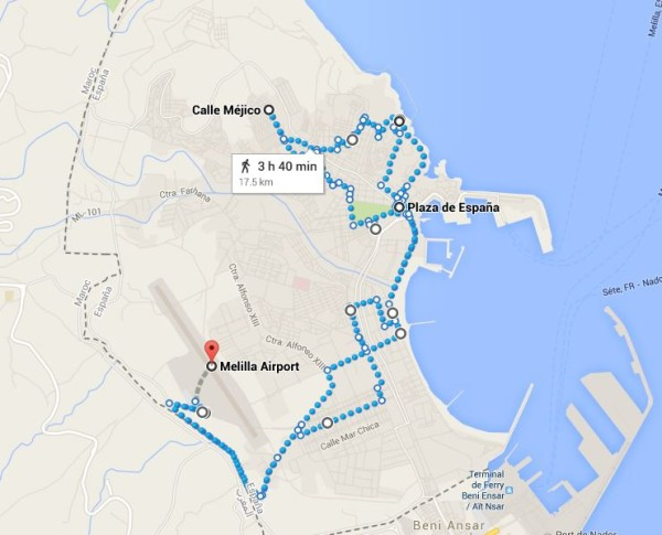 Rough Map of My Day in Melilla