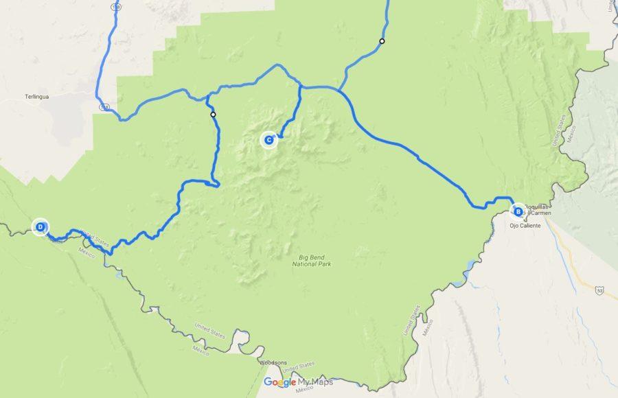 Big Bend Driving Map