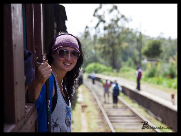 Liz on Train from Kandy to Nuwara Eliya