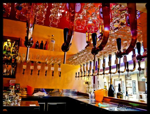 Beer Taps at Delerium Cafe