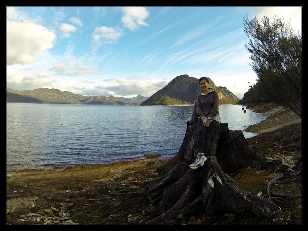 Sara at our Free Campsite near Mackintosh Dam, Tasmania