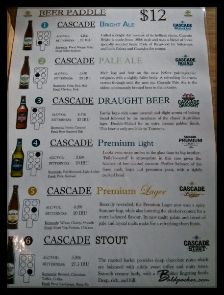 Cascade Brewery Beer Paddle Offerings