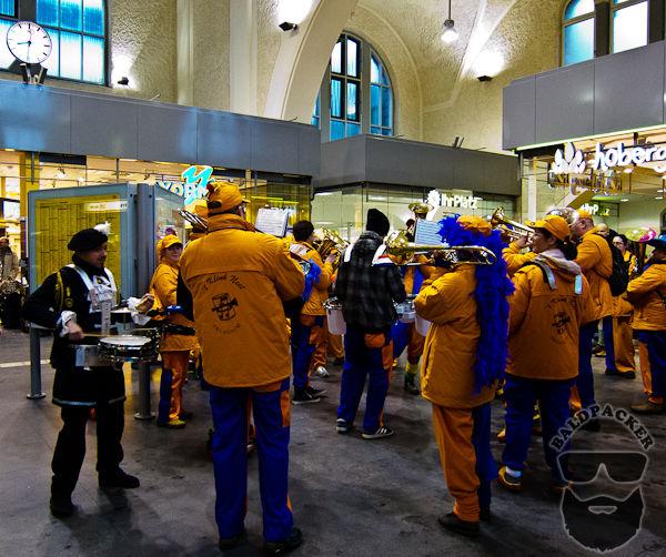 Carnival Band in Aachen Train Station
